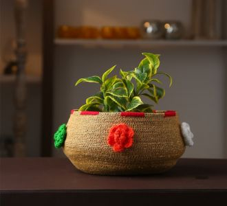 Jute And Acrylic Thread Composed Multi-Utility Basket In Natural And Black Colorful Flowers Depicted