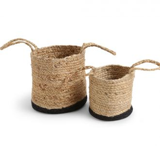 Multicoloured Multi-Utility Jute Constituted Engrossing Basket With Black Bottom