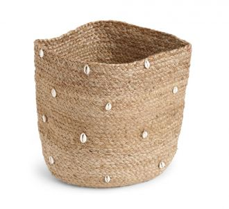 Multi-Utility Jute Made Remarkable Basket With Shell Details In Natural And White Colours