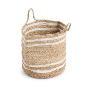 Magnificent Multi-Utility Jute Composed Basket With White Stripes In Shades Of Natural And White