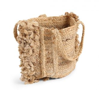 Natural Coloured Multi-Utility Amusing Jute Composed Basket With Fringes