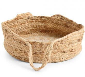 Natural Coloured Multi-Utility Jute Composed Basket With Mandala Print In White Of Size L