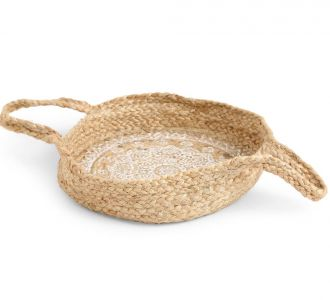 Multi-Utility Jute Constituted Wondrous Basket With Mandala Print In White Of Size S