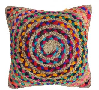 Jute And Fabric Made Chindi Recycled Multicoloured Flawless Cushion Cover Reflecting Restfulness
