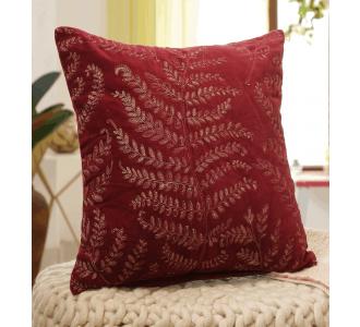 Maroon Zari Embroidered Cushion Cover