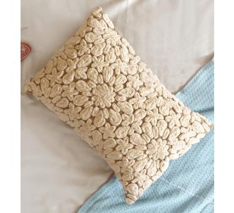 Cotton Duck Unique Design Cord Embroidered Cushion Cover
