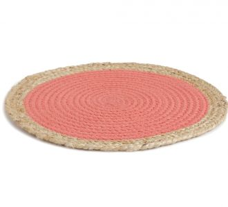 Exquisite Jute And Cotton Made Placemat In Shades Of Orange And Natural Potraying Distinctivness