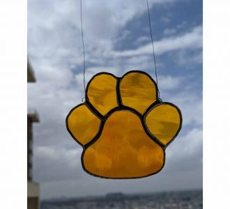 Stained Glass Made Dazzling Dog Paw In Multicolours