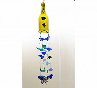 Soothing Bottle X Stained Glass Composed Windchime In Multicolours