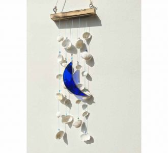 Moon X Shell Windchime Made Of Stained Glass In Multicolours
