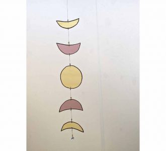 Moon Phases Showing Obstinate Window Hanging Made Of Stained Glass In Multicolours