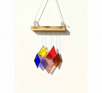 Mini Rainbow Showing Itsy Bitsy Pretty Windchime Hanging Constituted Of Steel In Multicolours