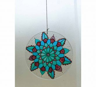 Calm Floral Suncatcher Composed Of Glass In Shades Of Blue