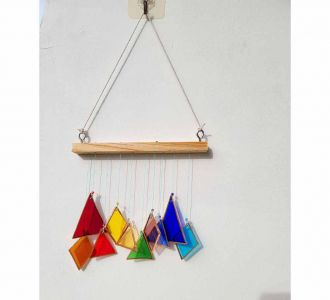 Triangle Diamond Winsome Windchime Constituted Of Stained Glass In Multicolours