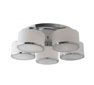 Designer Round Ceiling Light With Chrome And Steel Finish Chandelier 5 Lamps