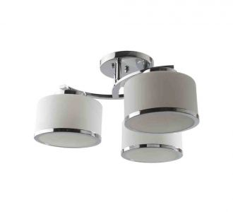 Astounding Round Ceiling Light With Chrome And Steel Finish Chandelier 3 Lamps