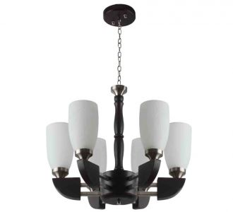 Amazing Contemporary Chandelier In Glass Metal Wood