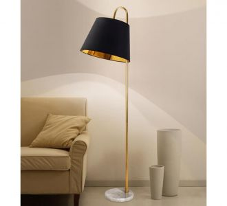 A Perfect Black Fabric Shade Straight Back In Golden With Marble Stand Elegant Design Floor Lamp