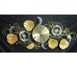 Punched Ginko Metallic Flower Wall Clock