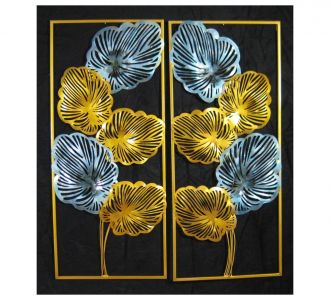 5 Metallic Leaf Wall Pannel Decor Set Of 2