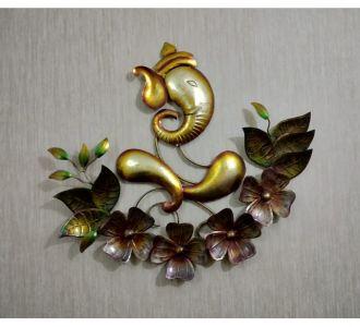 Flower Ganesh Wall Hanging Decor Antique Gold Finish