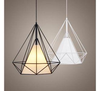 Rustic New Style With Modern Urban Design Thin Black Matte Metal Diamond Design With Triangular Light