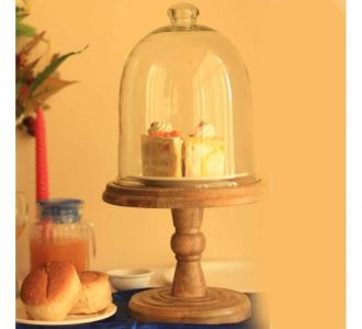 Rustic Wood Small Pedestal Cake Stand With Cloche Dome