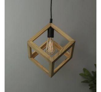 Modern Nordic Wooden Pendant Cube Light Black