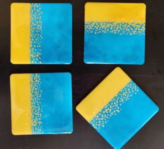 Handpainted Using Colours With Love Sea Blue Coasters