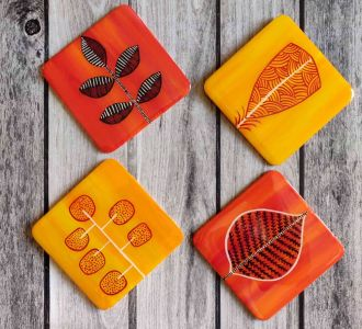 Leaves Depicting Handpainted Colourful Coasters