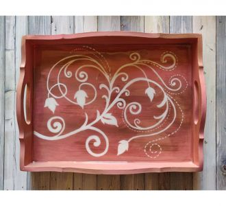 Floral Designed Hand Painted Mdf Composed Serving Tray