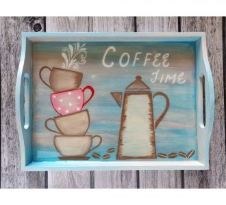 Rejuvenating Hand Painted Mdf Serving Tray Showing Coffee Time