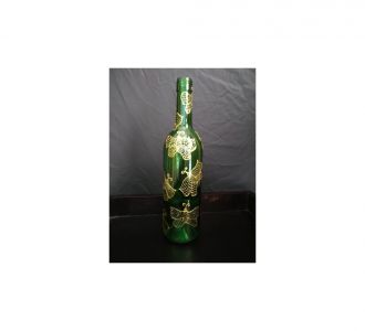 Blooming Hand Painted Light Bottle Depicting The Gold Butterflies