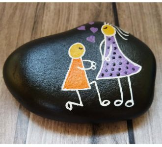 Hand Painted Pretty Pebble Couple 3