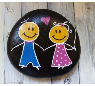 Beautiful Hand Painted Pebble For Couples