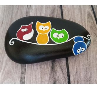 Creatively Hand Painted Pebble Showing 4 Owls