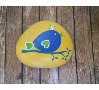 Dazzling Hand Painted Blue Bird Pebble