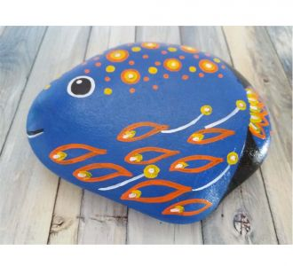 Blue Fish Hand Painted On Pebble Making It Artistic