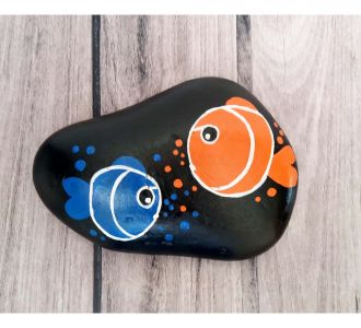 Engaging Hand Painted Pebble Showing 2 Fishes