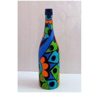 Artistically Designed Hand Painted Glass Bottle Vase