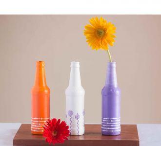 Orange White Purple Shaded Artistic Hand Painted Glass Bottle Vases