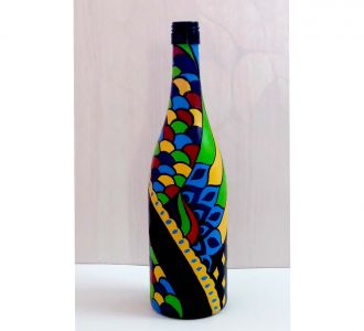 Enthralling Multi And Contrasting Colored Designed Hand Painted Glass Bottle Vase