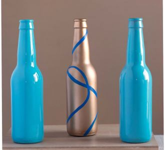 Blue And Gold Shaded Hand Painted Beautiful Glass Bottle Vases
