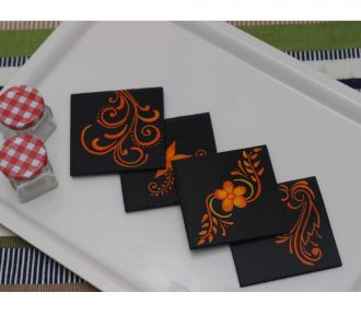Hand Painted Mdf Made Woody Coasters Depicting Blossoming Floral Pattern