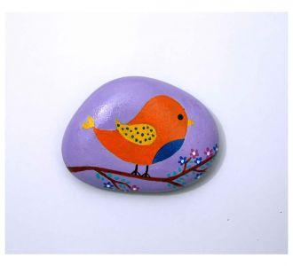 Artsy Craftsy Hand Painted Pebble Showing Orange Bird