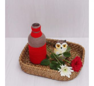 Beige Red Shaded Enchanting Hand Crafted Yarn Bottle Vase