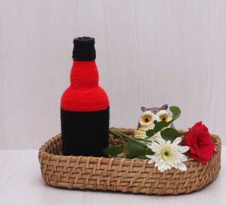 Black Red Shaded Hand Crafted Creative Yarn Bottle Vase