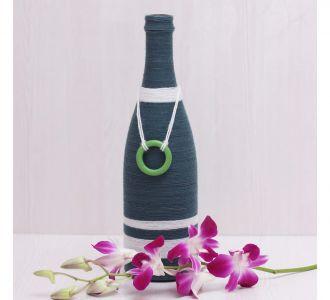 Blue White Shaded Dazzling Hand Crafted Yarn Bottle Vase
