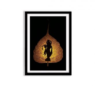 Glorious Lord Krishna In Standing In Leaf Photo Frame Made Of Mdf Wood Of Size 12X18 On Offer Online