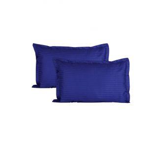 Glace Cotton Plain Stripes Pillow Cover Set Of 2 Pcs In Blue Colour